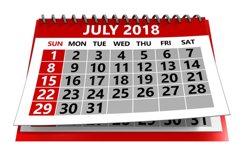 july 2018 calendar stock illustration