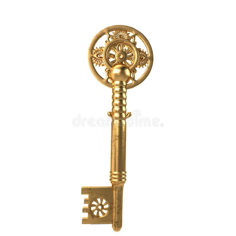 3d illustration key fantasy in the style of steampunk on an isolated white background stock photography