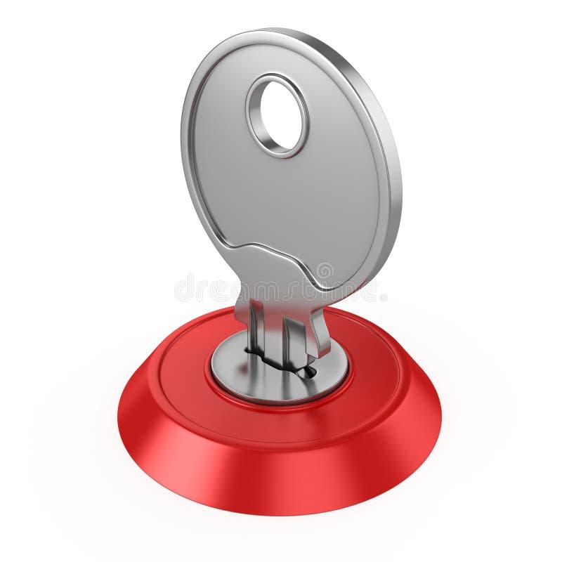 3d illustration of key in key-hole stock illustration