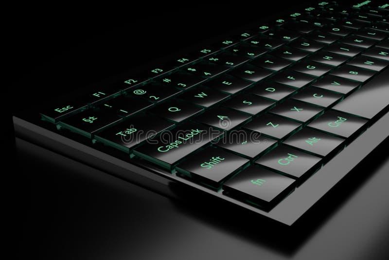 3d illustration of a keyboard. On a dark background royalty free illustration
