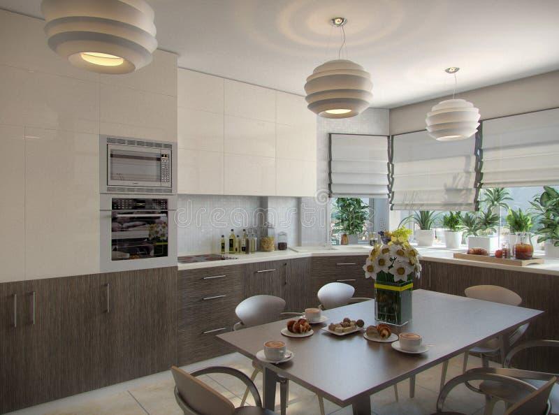 3d illustration of a kitchen in beige tones. 3d render of a kitchen in beige tones royalty free illustration