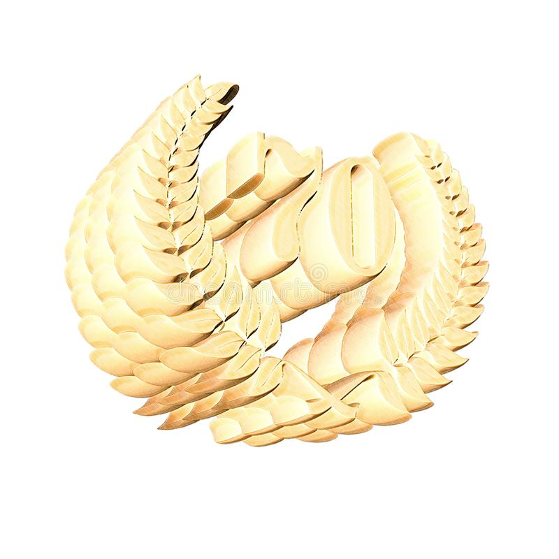 3D Illustration: A laurel wreath with the number 70, symbol image for a jubilee, anniversaries, successes. 3D Illustration, 3D Rendering: A laurel wreath with vector illustration