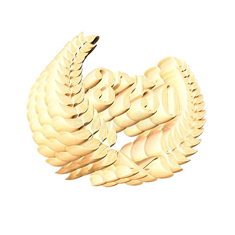 3D Illustration: A laurel wreath with the number 3750, symbol image for a jubilee, anniversaries, successes. 3D Illustration, 3D Rendering: A laurel wreath with royalty free illustration