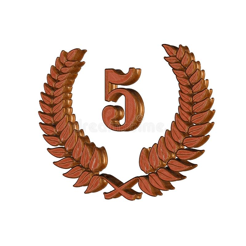 3D Illustration: A laurel wreath with the number 5, symbol image for a jubilee, anniversaries, successes vector illustration