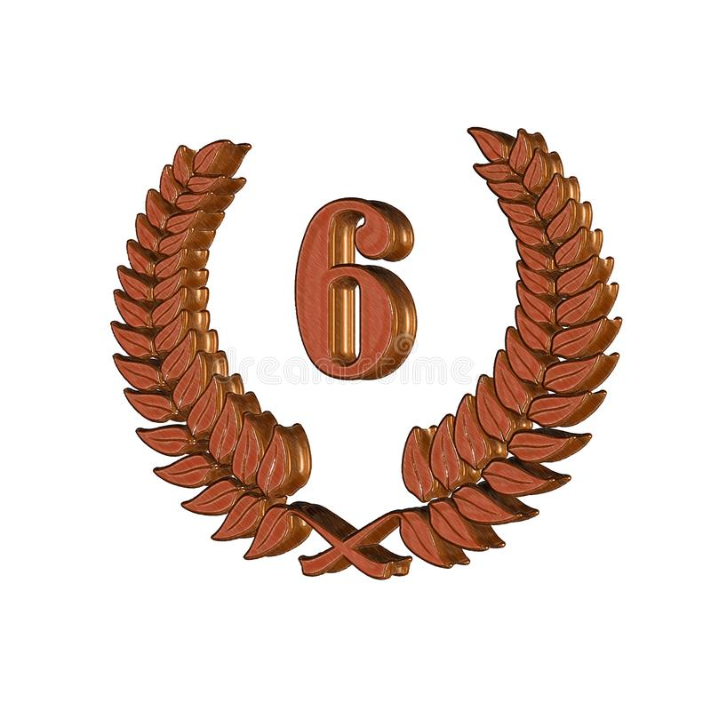 3D Illustration: A laurel wreath with the number 6, symbol image for a jubilee, anniversaries, successes stock illustration