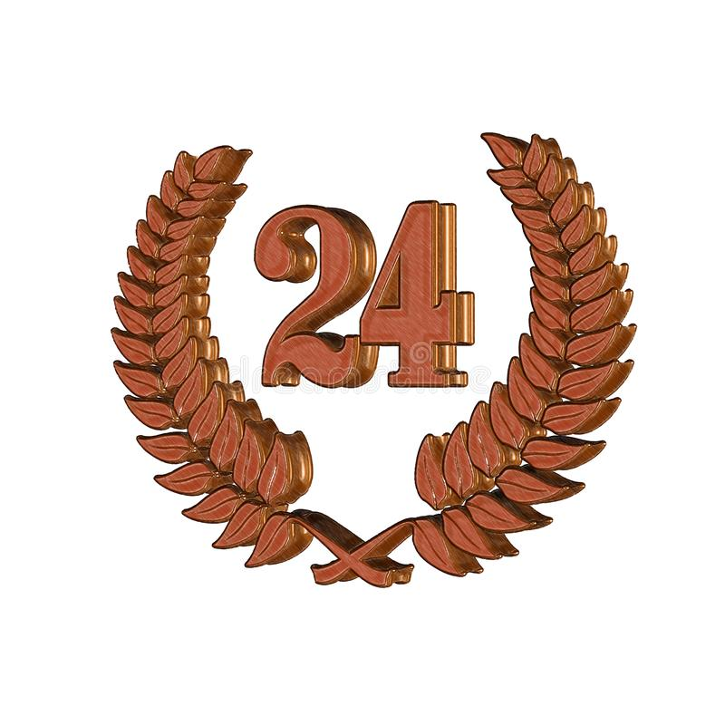 3D Illustration: A laurel wreath with the number 1, symbol image for a jubilee, anniversaries, successes royalty free illustration