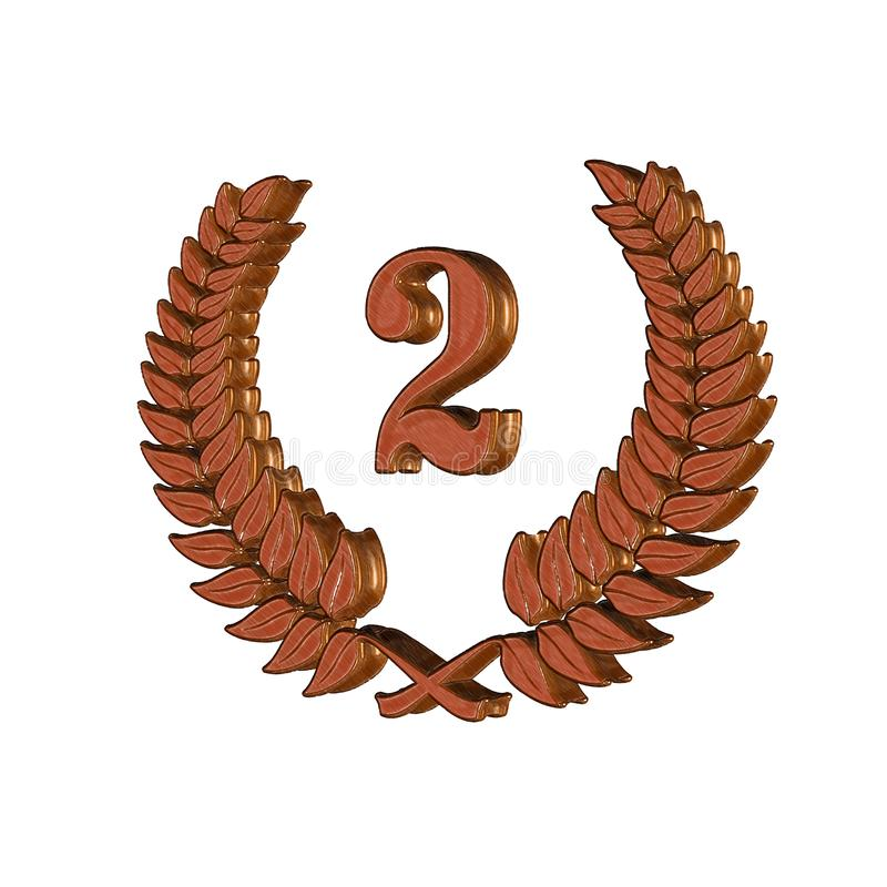 3D Illustration: A laurel wreath with the number 2, symbol image for a jubilee, anniversaries, successes vector illustration