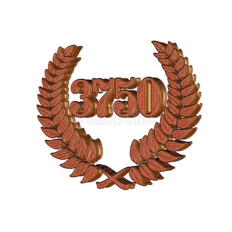 3D Illustration: A laurel wreath with the number 3750, symbol image for a jubilee, anniversaries, successes. 3D Illustration, 3D Rendering: A laurel wreath with vector illustration