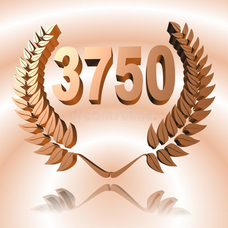 3D Illustration: A laurel wreath with the number 3750, symbol image for a jubilee, anniversaries, successes. 3D Illustration, 3D Rendering: A laurel wreath with stock illustration