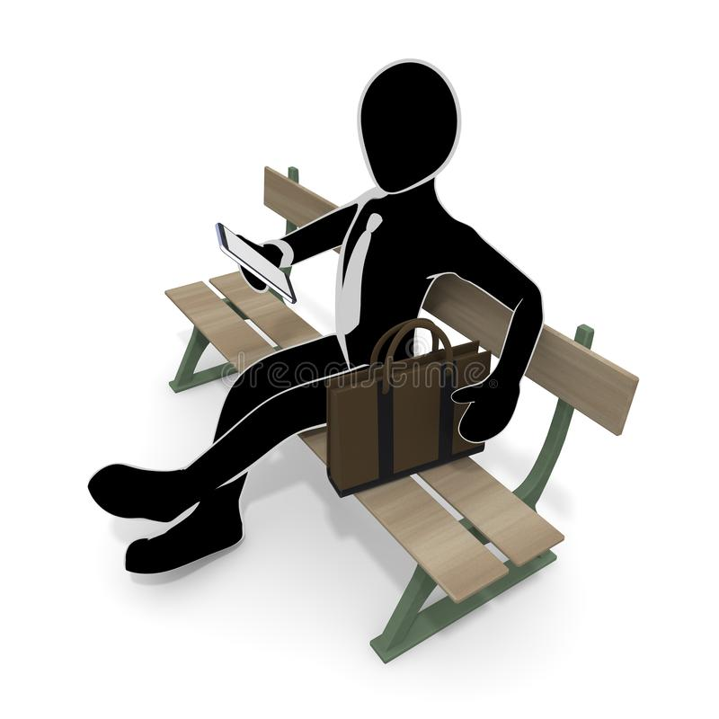 3D illustration A lazy businessman sitting on a park bench. I am not motivated. I give up my job. I have no energy. I am not well. A lazy person. I suffer from stock illustration