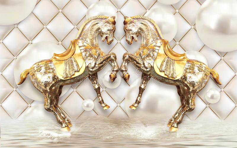 3d illustration leather background with golden horse butterfly flower mural wallpaper royalty free illustration