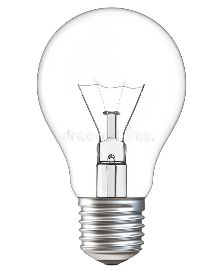3d illustration of Light bulb on white background. Realistic 3d rendering of incandescent lamp withe clipping royalty free illustration