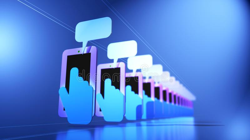 A 3D Illustration of a line array of mobile phones with hands and fingers texting stock illustration
