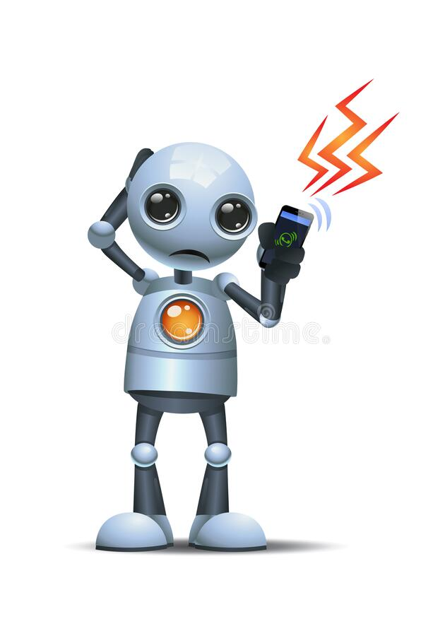 3d illustration of little robot afraid to answer business call communication. On  white background stock illustration
