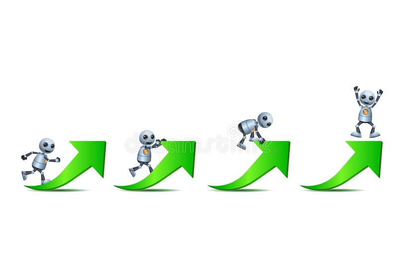 3d illustration of  little robot business challenges himself climbing green arrow vector illustration