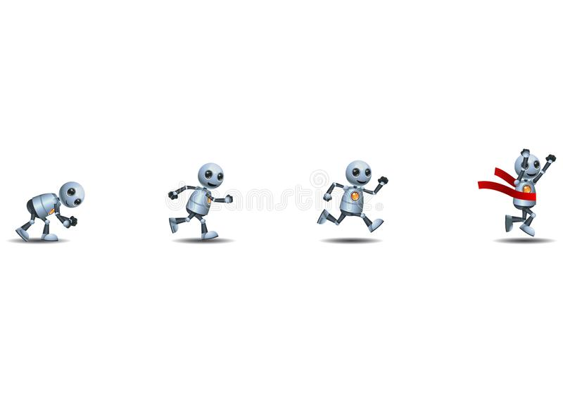 3d illustration of  little robot business challenges running and achievement ribbon finish line stock illustration
