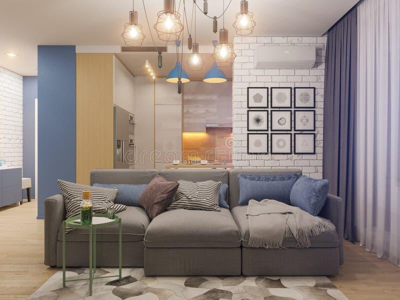 3d illustration living room and kitchen interior design. Modern stock illustration