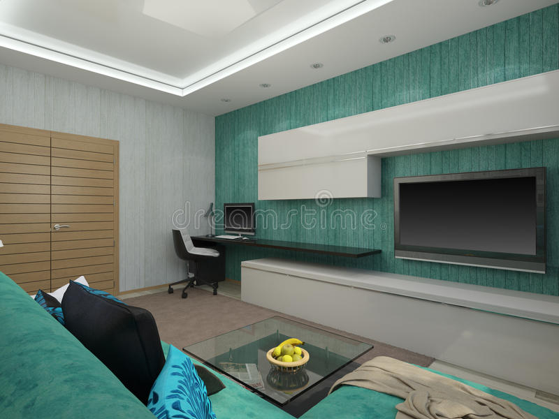 3d illustration of a living room in a turquoise color. 3d rendering of a living room in a turquoise color royalty free illustration