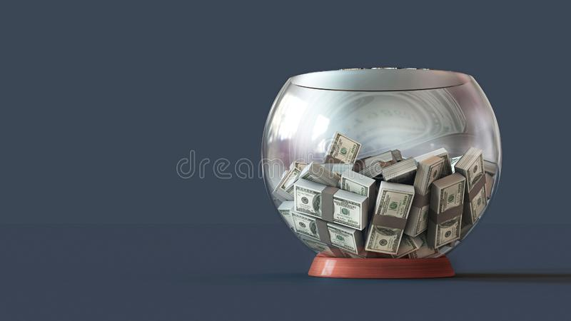3D illustration of a lot of decks of money 100 dollars in a glass bowl stock illustration