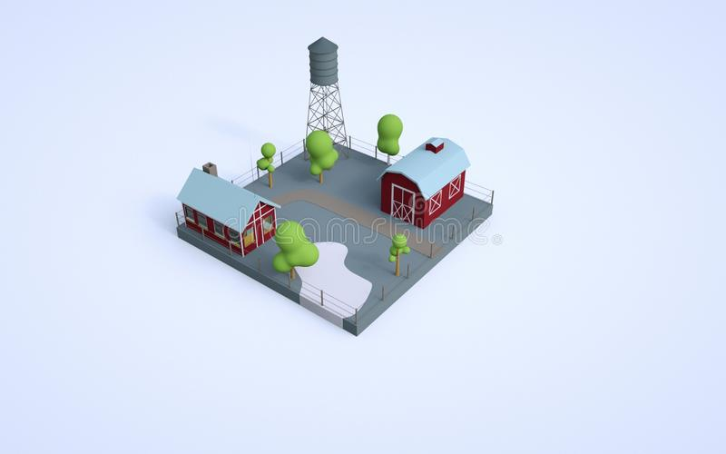 3d illustration of low poly, isometric, farm. Farm, vegetable garden, ranch, water tower, american stock illustration