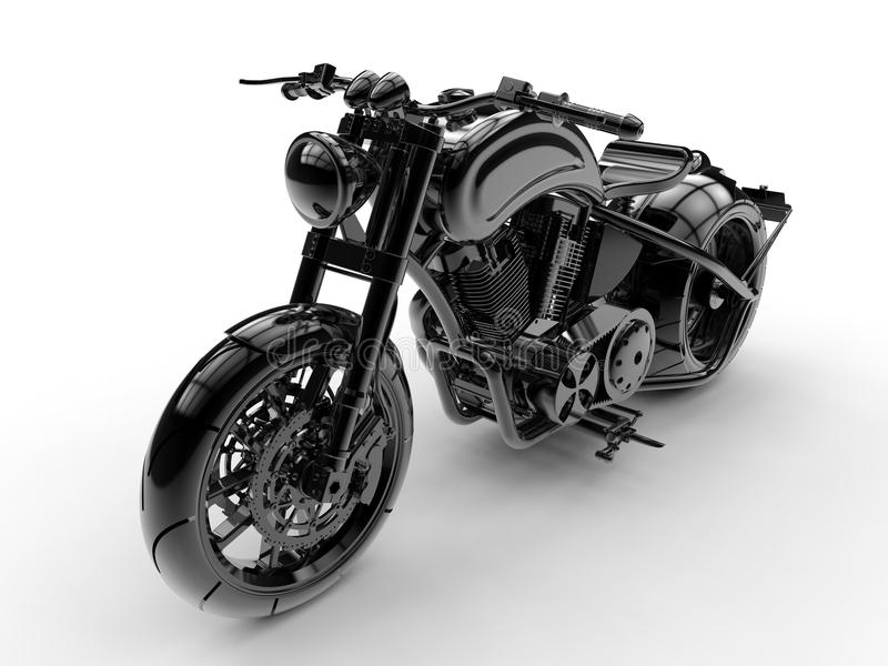 3D illustration - mörk metallisk motorcykel royaltyfri illustrationer