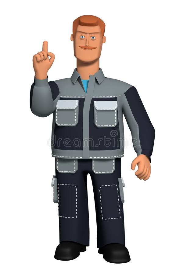 3d illustration Male Character in a working uniform with a red mustache makes a gesture of `attention`. Template for the designer. Character explaining the stock illustration