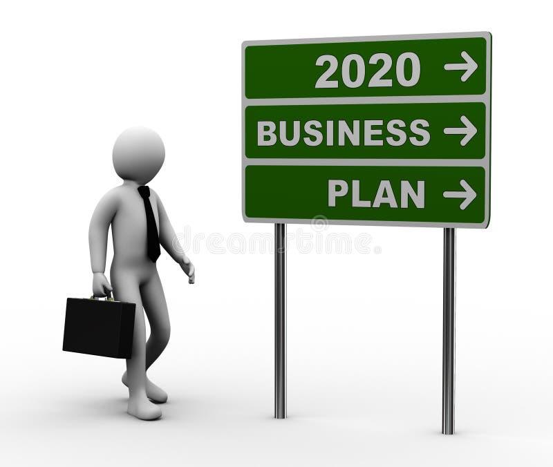 3d businessman 2020 green roadsign royalty free illustration