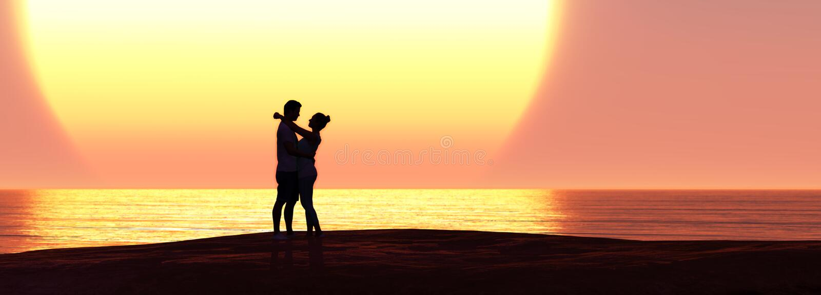 Man and woman. 3d illustration man and woman in love and sunset, sweet, friendship, relationships, passion, excitement, affectionate, joy, portrait, marriage stock illustration