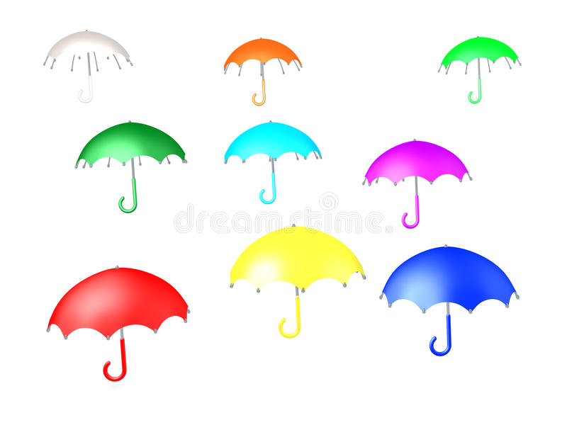 3D Illustration of many colorful umbrellas. They are floating in the air royalty free illustration