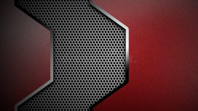 3d illustration. material design. red and black carbon fiber and chromium frame. metal background stock illustration