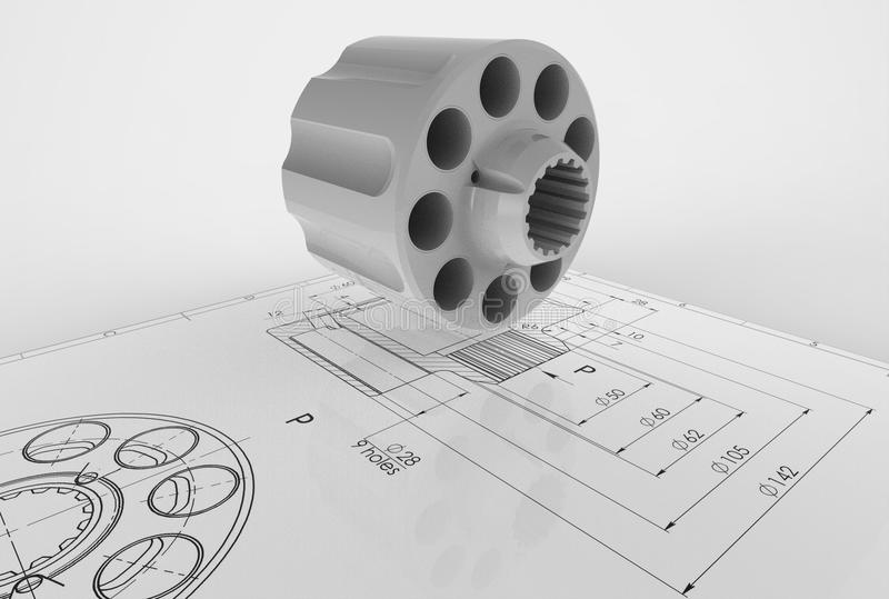 3d illustration of mechanical drawing with detail. On white background royalty free illustration