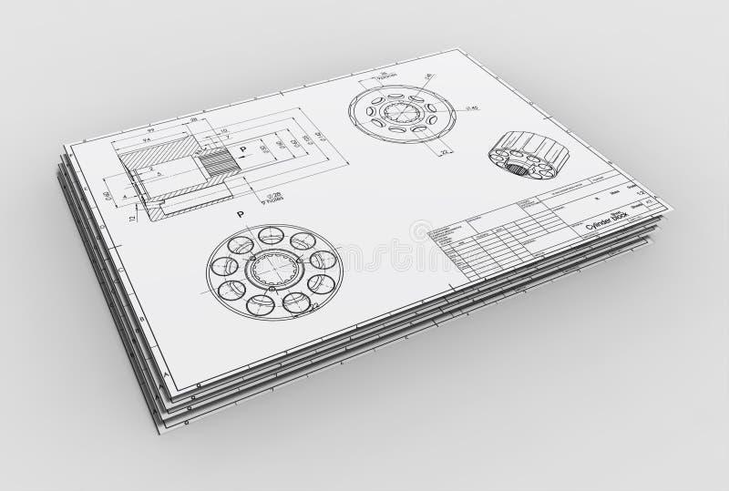 3d illustration of mechanical drawing. 3d illustration of the mechanical drawing on white background royalty free illustration