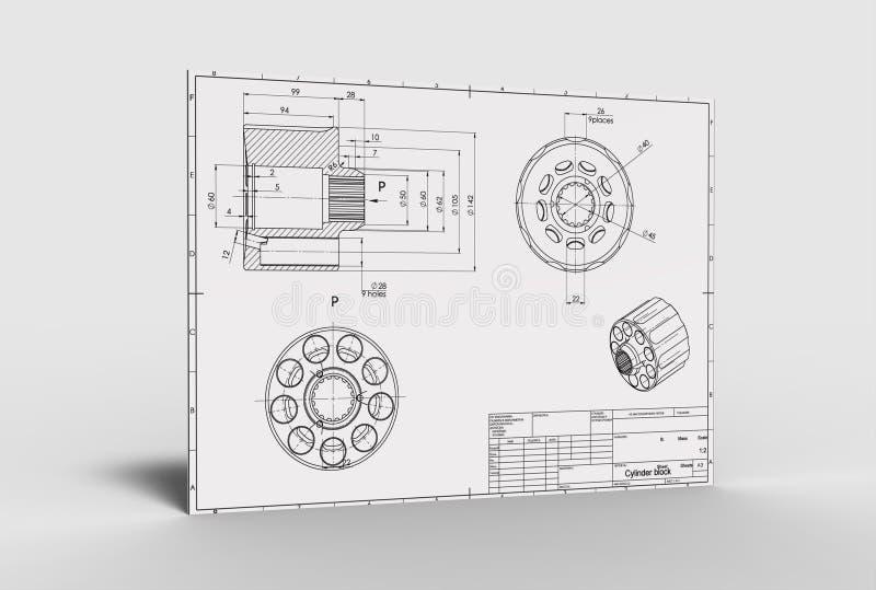 3d illustration of mechanical drawing. 3d illustration of the mechanical drawing on white background stock illustration