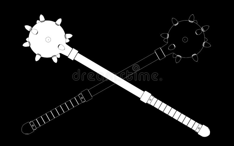 3d illustration of medieval viking mace isolated vector illustration