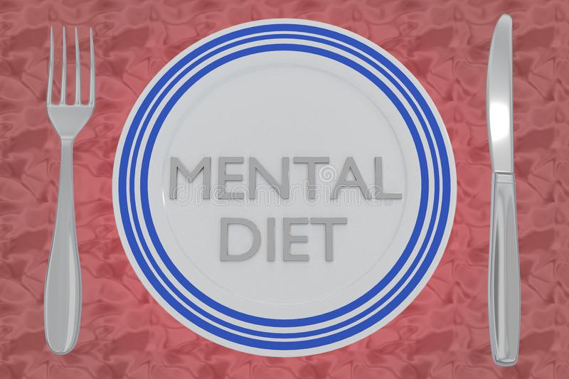 Mental Diet concept. 3D illustration of MENTAL DIET title on a white plate, along with silver knif and fork, on a pale red background stock illustration