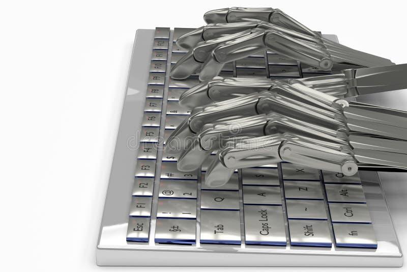 3d illustration metal hands robot on keyboard stock illustration