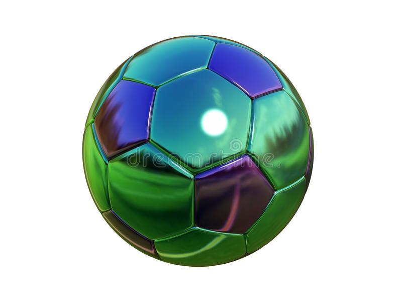 3d illustration. Metal mirror soccer ball Isolated on white background.  royalty free illustration