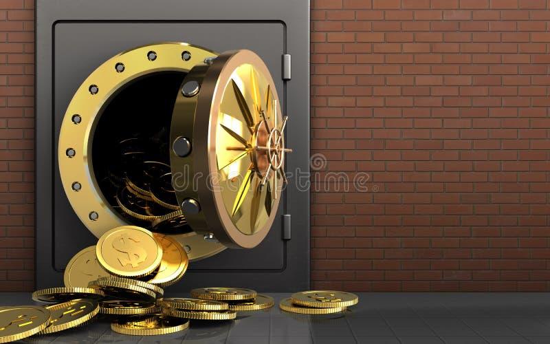 3d dollar coins over red bricks stock photos