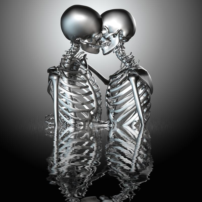 3d illustration of metal skeleton couples kissing in water.  stock illustration