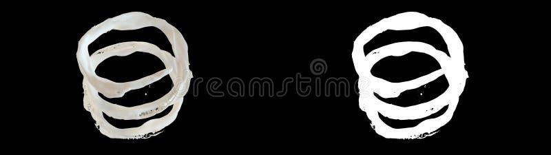 3D illustration of a milk flow. With alpha  layer on black background royalty free illustration