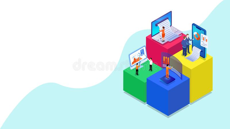 3D illustration of miniature business people analysis the data with digital devices. 3D illustration of miniature business people analysis the data with digital royalty free illustration