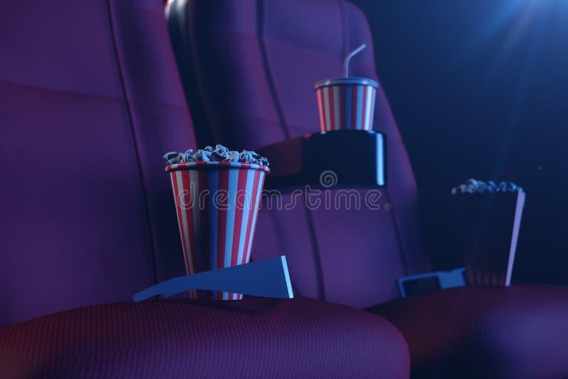 3D Illustration mit Gläsern 3d, Popcorn, Schale mit einem Getränk Kinokonzept mit Blaulicht Rote Stühle im Kino lizenzfreie stockfotos
