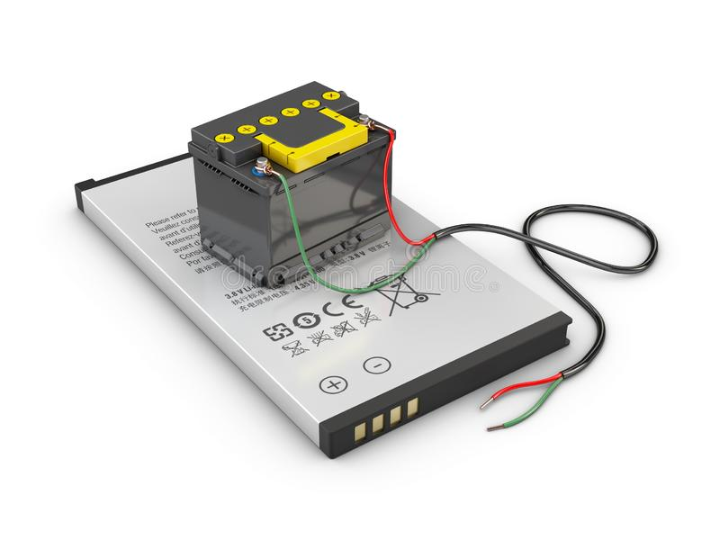 3d Illustration of mobile phone battery isolated white stock photography