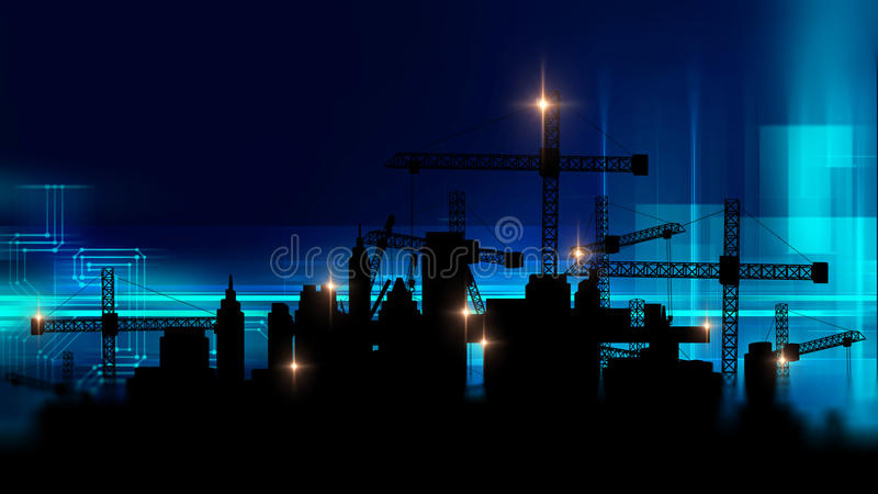 3d illustration of mobile and tower cranes in silhouette. Mobile and tower cranes factory construction site with city silhouette on technology background,3d vector illustration