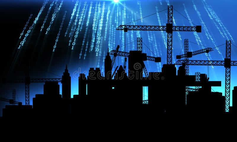 3d illustration of mobile and tower cranes in silhouette. Mobile and tower cranes factory construction site with city silhouette on technology background,3d stock illustration