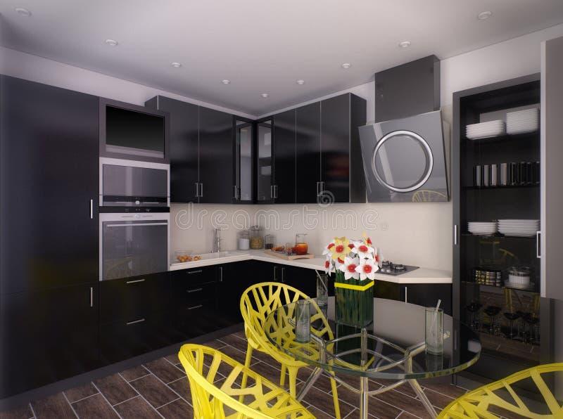 3d illustration of modern black kitchen. 3d rendering of modern black kitchen royalty free illustration