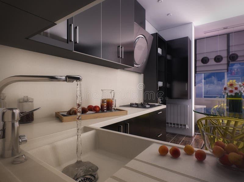 3d illustration of modern black kitchen. 3d rendering of modern black kitchen stock illustration