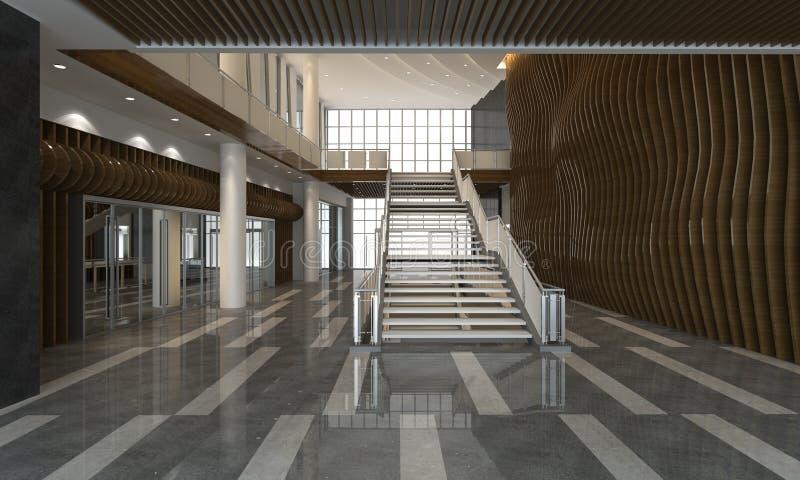 3D Illustration the modern office interior design royalty free illustration