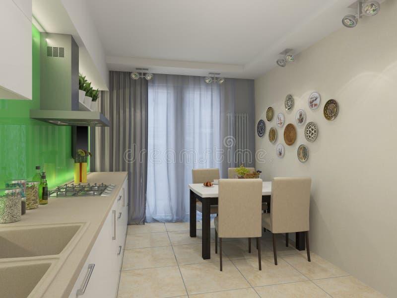 3d illustration of modern white kitchen. 3d rendering of modern white kitchen stock illustration