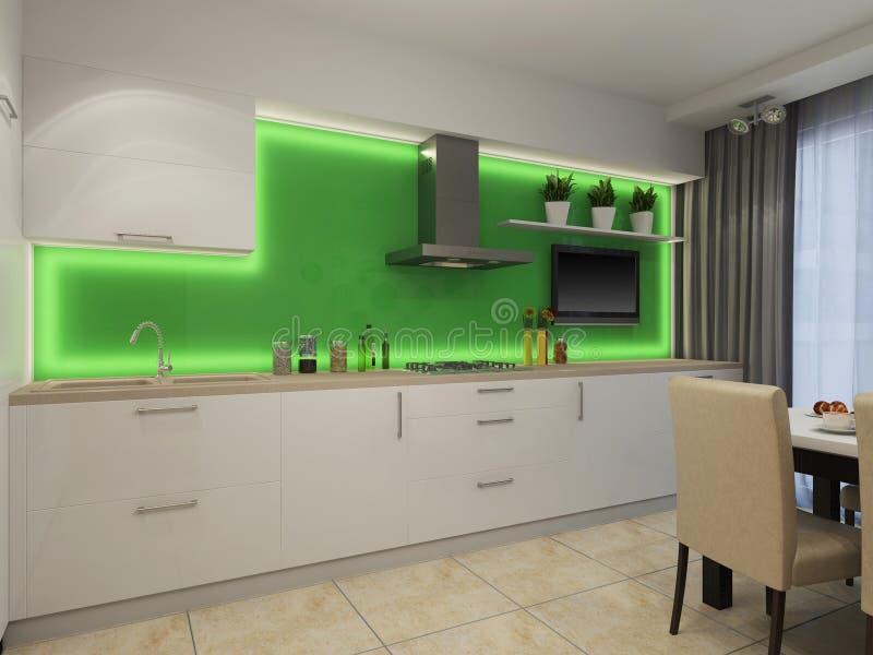 3d illustration of modern white kitchen. 3d rendering of modern white kitchen royalty free illustration